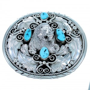 Turquoise Navajo Bear Sterling Silver Belt Buckle RX111646