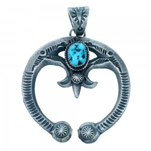 Turquoise Sterling Silver American Indian Naja Pendant RX111652