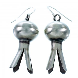 American Indian Old Pawn Style Sterling Silver Squash Blossom Hook Dangle Earrings RX111929
