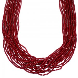 Navajo Coral And Sterling Silver 20-Strand Bead Necklace SX112007