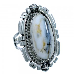 White Buffalo Turquoise Sterling Silver Navajo Ring Size 6 SX112305