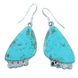 Navajo Authentic Sterling Silver Turquoise Hook Dangle Earrings SX112020