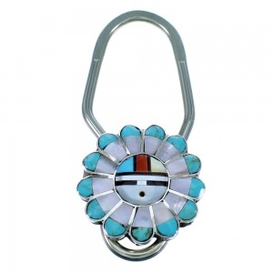 Zuni Indian Multicolor Sun Sterling Silver Keychain RX112146