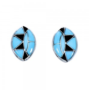 Zuni Sterling Silver And Turquoise Inlay Post Earrings RX112361