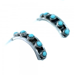 Genuine Sterling Silver Turquoise Zuni Post Hoop Earrings RX112362