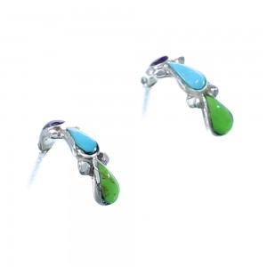 Sterling Silver And Multicolor Zuni Post Hoop Earrings RX112382