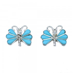 Zuni Genuine Sterling Silver Turquoise Butterfly Post Earrings RX112394