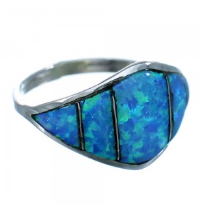Blue Opal Inlay Zuni Sterling Silver Ring Size 6-1/4 RX112957