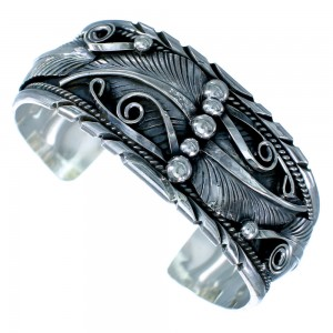Sterling Silver Scalloped Leaf Navajo Cuff Bracelet SX112433
