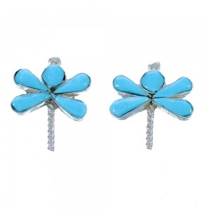 Turquoise Dragonfly Zuni Indian Sterling Silver Post Earrings RX112488