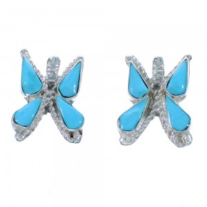 Turquoise Butterfly Zuni Sterling Silver Post Earrings RX112489
