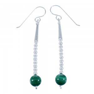 Malachite And Sterling Silver Navajo Hook Dangle Earrings SX112697