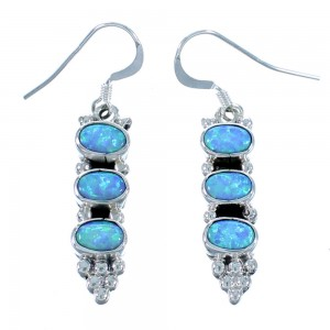 Sterling Silver And Blue Opal Native American Hook Dangle Earrings RX112500
