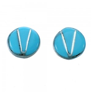 Zuni Turquoise Inlay Sterling Silve Post Stud Earrings RX112517