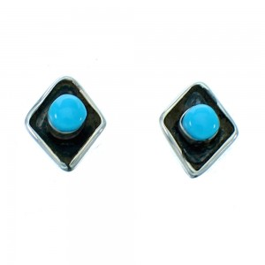 Zuni Turquoise Sterling Silver Post Stud Earrings SX112628