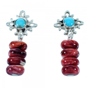 Turquoise Red Oyster Shell Sterling Silver Southwest Post Dangle Earrings SX112638