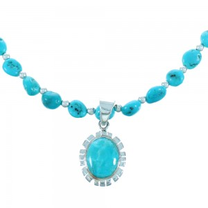 Turquoise And Sterling Silver Southwest Bead Necklace And Pendant Set SX112661