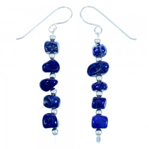 Navajo Sterling Silver Lapis Bead Hook Dangle Earrings RX113154