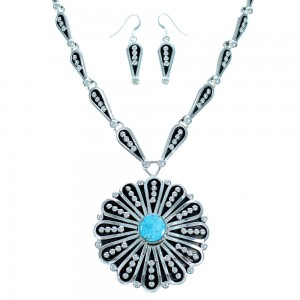 Sterling Silver Turquoise Navajo Link Necklace Earring Set RX113638