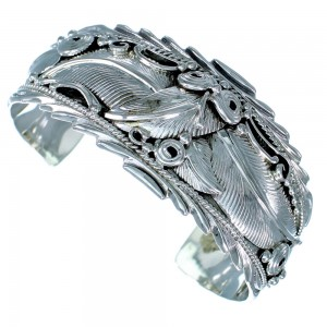 American Indian Sterling Silver Scalloped Leaf Cuff Bracelet SX113852