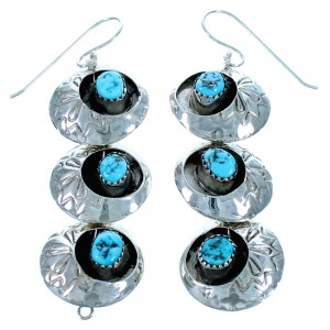 Authentic Sterling Silver Turquoise Navajo Hook Dangle Earrings RX113800
