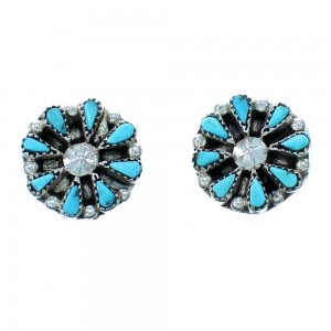 Genuine Sterling Silver Zuni Turquoise Post Stud Earrings RX113871