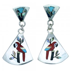 Sterling Silver Parrot Zuni Multicolor Inlay Post Dangle Earrings RX113903