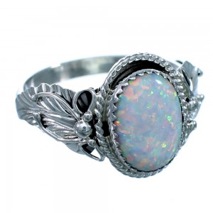Navajo Sterling Silver And Opal Scalloped Leaf Ring Size 14-3/4 LX113915