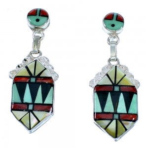 Zuni Multicolor And Sterling Silver Sun Post Dangle Earrings LX113949
