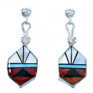 Zuni Indian Multicolor Inlay Sterling Silver Post Dangle Earrings LX114037