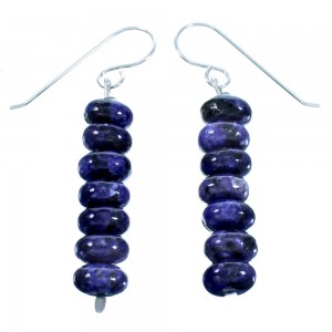 Charoite Sterling Silver Navajo Bead Hook Dangle Earrings LX114054