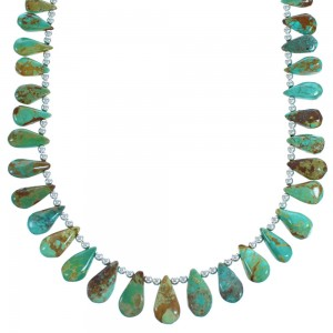 Southwestern Sterling Silver And Turquoise Tear Drop Bead Necklace DX116028
