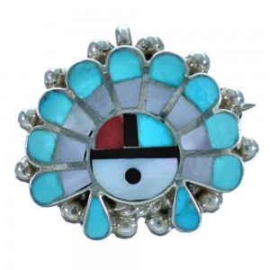 Multicolor Sterling Silver Sun And Cheif Headdress Zuni Pin Pendant BX117063