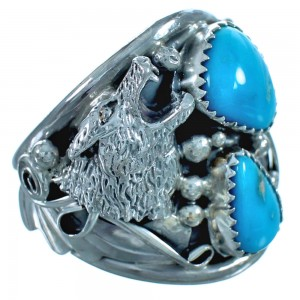 Native Wolf Authentic Sterling Silver Turquoise Ring Size 13 DX116999