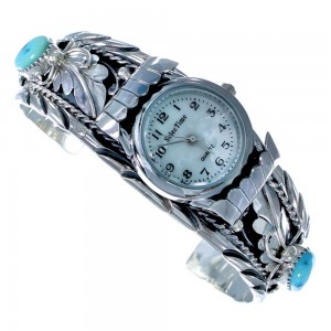 Sterling Silver Turquoise Native American Cuff Watch ZX116667