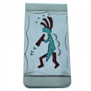 Sterling Silver Kokopelli Turquoise And Coral Inlay Navajo Money Clip ZX116751