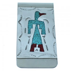 Sterling Silver Thunderbird Turquoise And Coral Inlay Navajo Money Clip ZX116753