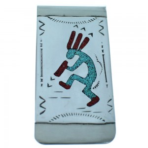 Sterling Silver Kokopelli Turquoise And Coral Inlay Navajo Money Clip ZX116763