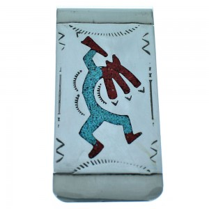 Sterling Silver Kokopelli Turquoise And Coral Inlay American Indian Money Clip ZX116766