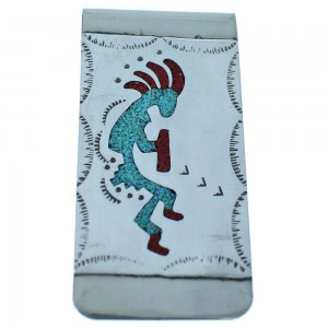 Sterling Silver Kokopelli Turquoise And Coral Inlay Navajo Money Clip ZX116769