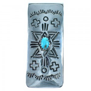 Sterling Silver Turquoise Native American Money Clip ZX116772