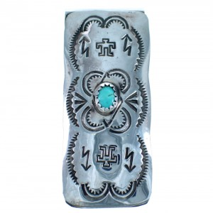 Sterling Silver Turquoise American Indian Money Clip ZX116773