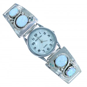Turquoise Opal Snake Sterling Silver Effie Calavaza Zuni Watch RX117289