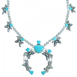Sterling Silver Turquoise Horse Navajo Squash Blossom Necklace ZX117075