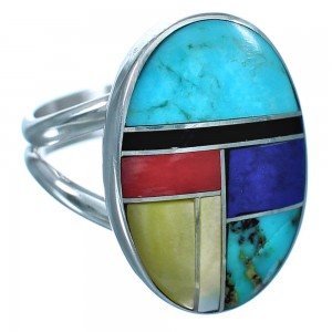 Sterling Silver Inlay Multicolor Native American Ring Size 6 BX117187