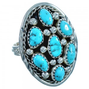 Navajo Turquoise And Sterling Silver Ring Size 7-3/4 BX117196