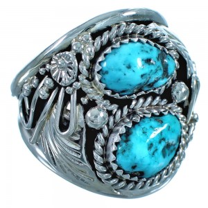 Sterling Silver And Turquoise Navajo Leaf Ring Size 11 BX117204
