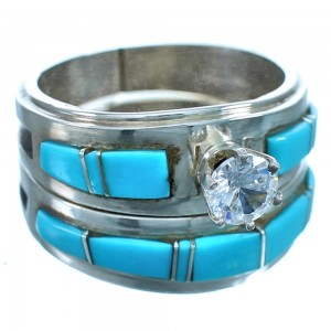 Cubic Ziconia Turquoise Sterling Silver Zuni Wedding Ring Size 9-1/4 RX117521