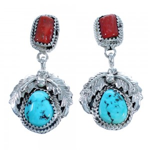 Navajo Turquoise And Coral Authetnic Sterling Silver Scalloped Leaf Post Dangle Earrings DX117442