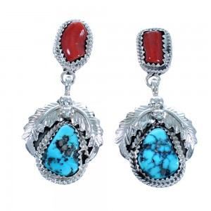 Turquoise And Coral Authetnic Sterling Silver Scalloped Leaf Navajo Post Dangle Earrings DX117443